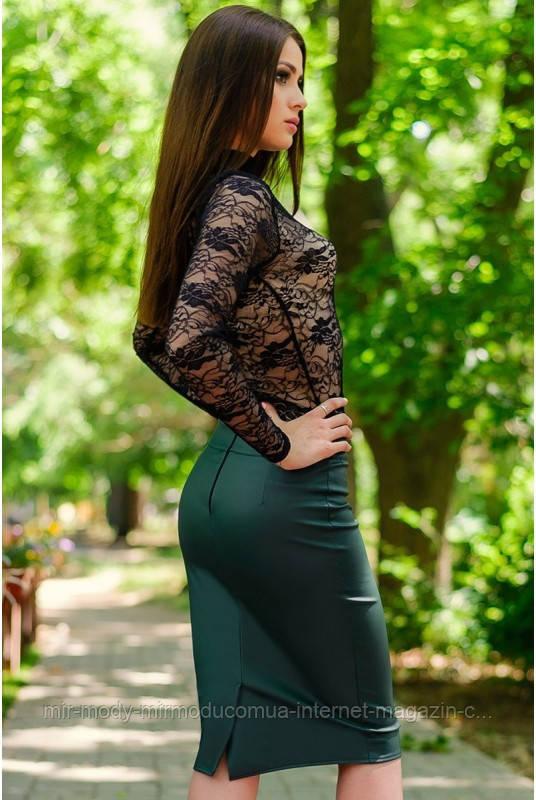 "Юбки » Кожаная юбка ""BULGARI"", изумруд(Ly-B)"