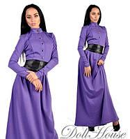Платье Сиреневое с черным поясом