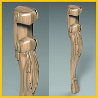 Оригинальная массивная ножка стола кабриоль. С акантовым листом и завитками из дерева. 730 мм.