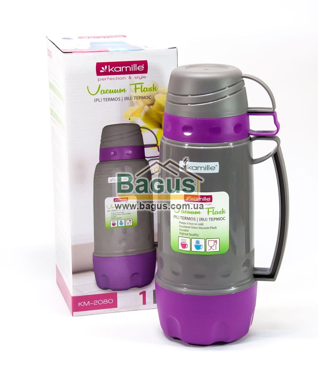 Термос 1л пластиковий зі скляною колбою (сірий+бузковий), дві чашки в кришці, одна в дні Kamille KM-2080-3