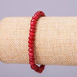 Браслет из натурального камня Турмалин тёмно-красный матовый граненный рондель d-6х4мм обхват 18см на резинке