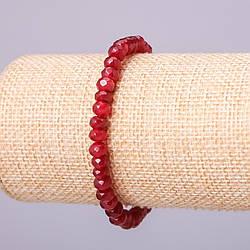 Браслет из натурального камня Турмалин тёмно-малиновый полупрозрачный граненный рондель d-6х4мм обхват 18см на резинке