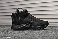 Мужские зимние кроссовки на меху  Nike Air Huarache Black Gray