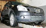 Декоративно-защитная сетка радиатора Nissan Qashqai 2006- бампер, фото 4