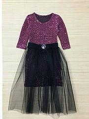 Платье для девочек трикотаж -резинка Пайетки Размеры 122- 152