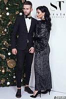 Вечернее черное платье в пол из бархата