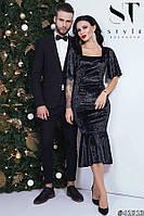 Шикарное черное бархатное платье