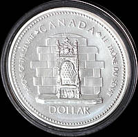 Серебряная монета Канады 1 доллар 1977 г. Серебряный юбилей. Пруф
