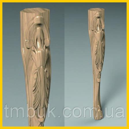 Ножка стола, консоли кабриоль с лепестком. Гнутая резная ножка из дерева. 750 мм., фото 2