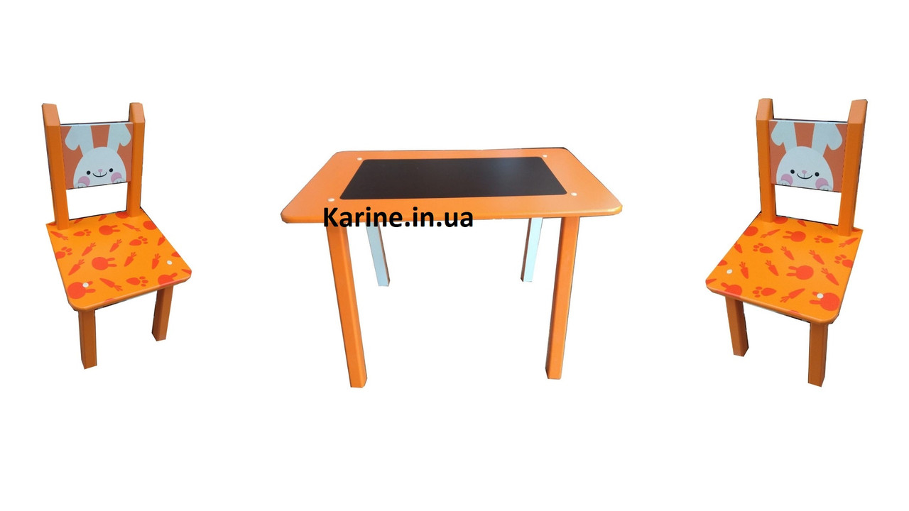 """Столик Мини """"Зайчик""""с меловой поверхностью + 2 стульчика"""