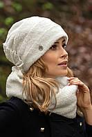 Теплый женский комплект шапка и хомут в 3х цветах CARLITA, фото 1