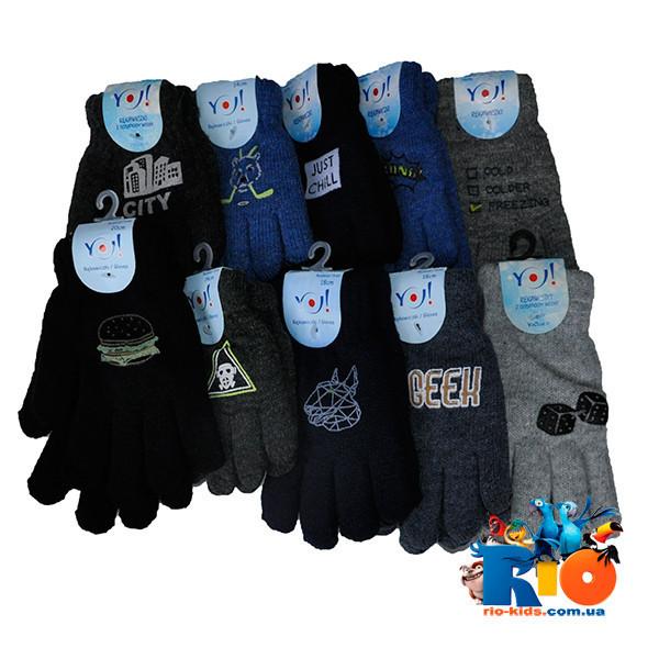 Перчатки YO , вязанные (мех) , однотонные , для мальчиков размер 18 (8-10 лет) ( 12 ед. в упаковке)