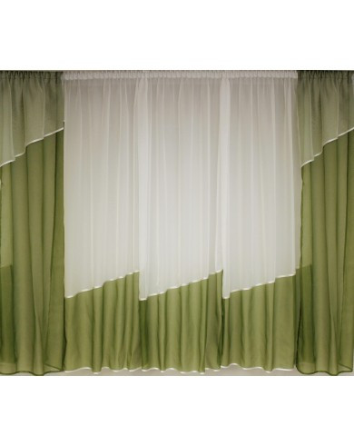 Занавеска Шифоновая   Зеленый + Белый