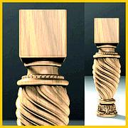 Ножка круглая с квадратным основанием винтовая для шкафа, кресла, тумбы, комода из дерева. 200 мм.
