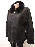Куртка женская кож-винил 48+ черного цвета на утеплителе