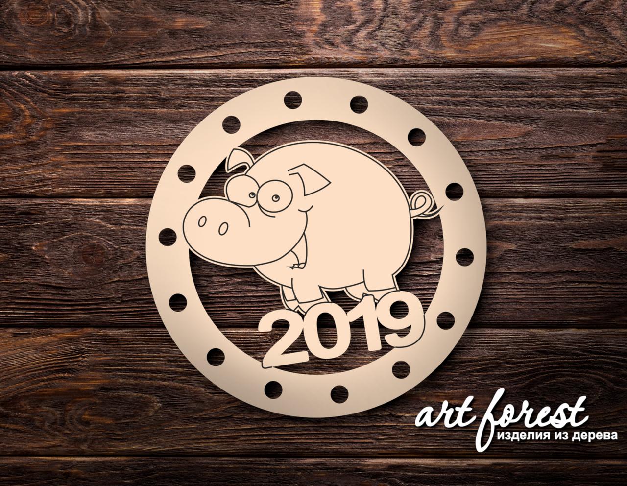 Новогодние елочные игрушки из фанеры 2020  (Хрюша) #100