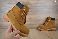 Мужские зимние ботинки Timberland Classic Boot рыжие с надписью Реплика