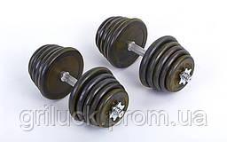 Гантели разборные (2шт) обрезиненные 40 кг (2*20 кг, гриф 35см)
