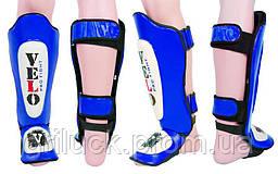Защита для голени и стопы Муай Тай, ММА, Кикбоксинг кожаная VELO (р-р M,XL,синий)