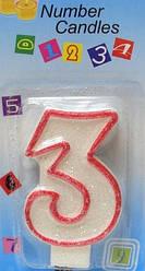 Свеча-цифра на торт 3 с окантовкой