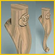 Ножка с цветком гнутая для банкетки из дерева. Кабриоль со скругленным основанием и углом 90 градусов. 400 мм