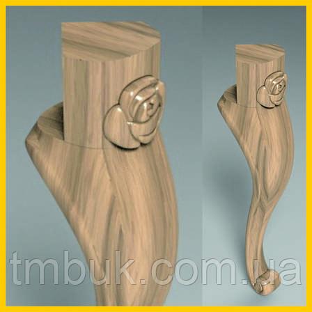 Ножка с цветком гнутая для банкетки из дерева. Кабриоль со скругленным основанием и углом 90 градусов. 400 мм, фото 2