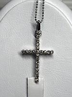 Крестик и цепочка в белом золоте с бриллиантами
