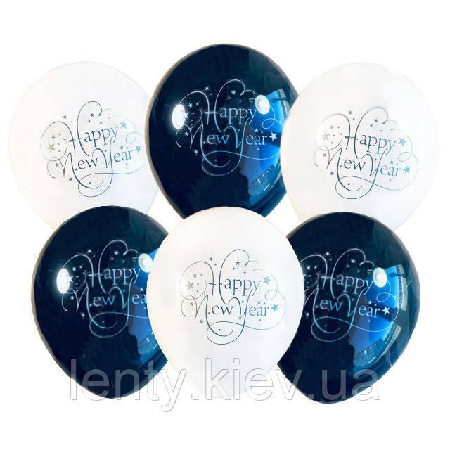 """Воздушные шарики с надписью """"Happy New Year"""", 12' (30 СМ), (10 ШТ )"""