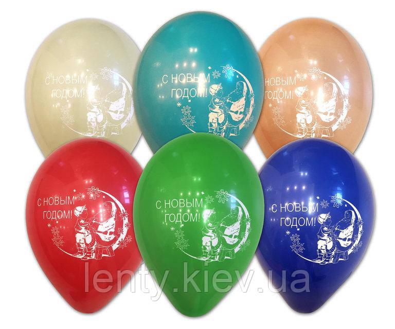 """Повітряні кульки з написом """"З Новим Роком"""", 10' (25 СМ), (10 ШТ )"""