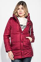 Куртка женская с капюшоном и задекорированным бегунком 71PD0004 (Вишневый), фото 1