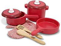 Игровой набор деревянной посуды, 8 предметов Play Kitchen Accessory Set - Pot & Pans ТМ Melissa & Doug MD12610