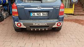 Задняя накладка R001 (пластик) - Hyundai Tucson JM 2004+ гг.