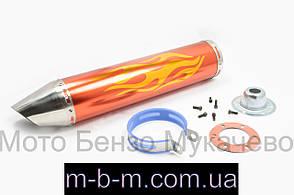 Глушитель тюнинг 420*100mm, креп. Ø78mm нержавейка, пламя, золото, прямоток, mod:3