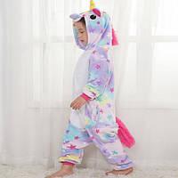 Детская пижама кигуруми Единорог со звездами 130 см, фото 1