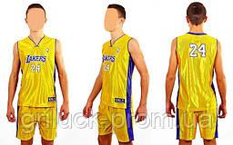Форма баскетбольная подростковая NBA LAKERS 24 (PL, р-р М-XL, желтый)