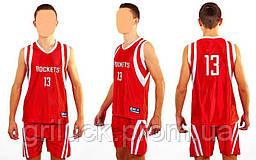 Форма баскетбольная подростковая NBA ROCKETS 13 (PL, р-р M-XL, красный)