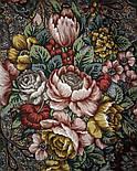 Старый замок 947-17, павлопосадский платок (шаль) из уплотненной шерсти с шелковой вязанной бахромой, фото 6