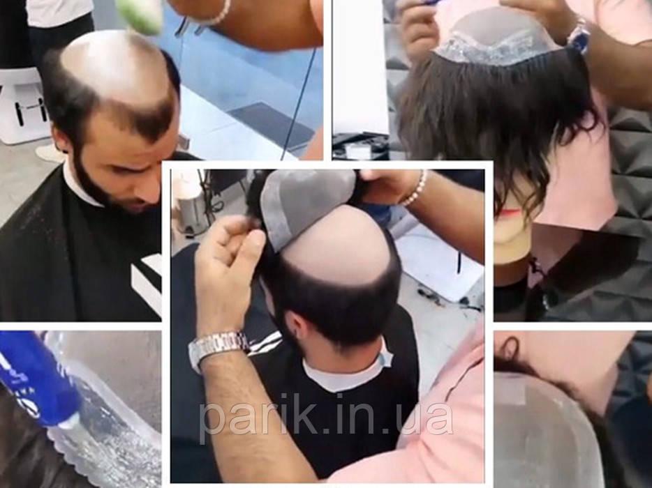 Система замещения волос для мужчин. Накладка на лысину (при облысении) из натуральных волос на клею