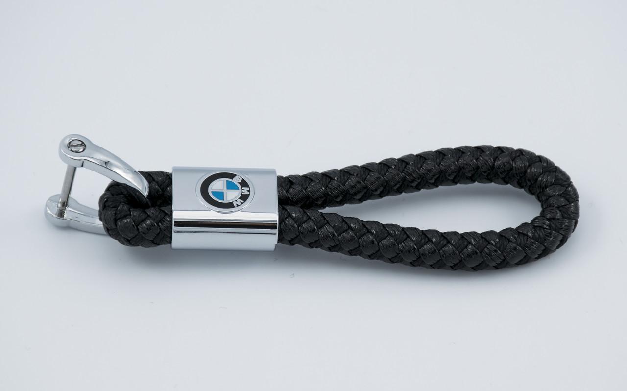Брелок с логотипом BMW, плетеный берлок с логотипом бмв для автомобилиста + карабин/черный