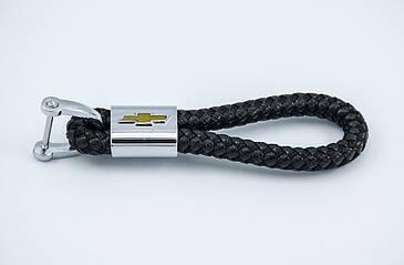 Брелок с логотипом CHEVROLET, плетеный берлок с логотипом шевролет для автомобилиста + карабин/черный
