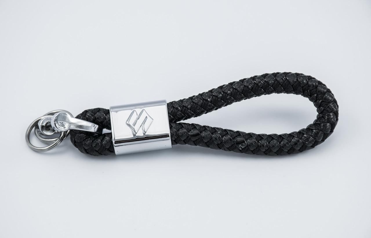 Брелок з логотипом SUZUKI, плетений берлок з логотипом сузукі для автомобіліста + карабін/чорний