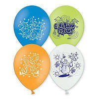"""Воздушные шарики с рисунком """"Новый год"""", 10' (25 СМ), (10 ШТ ) Набор №1"""