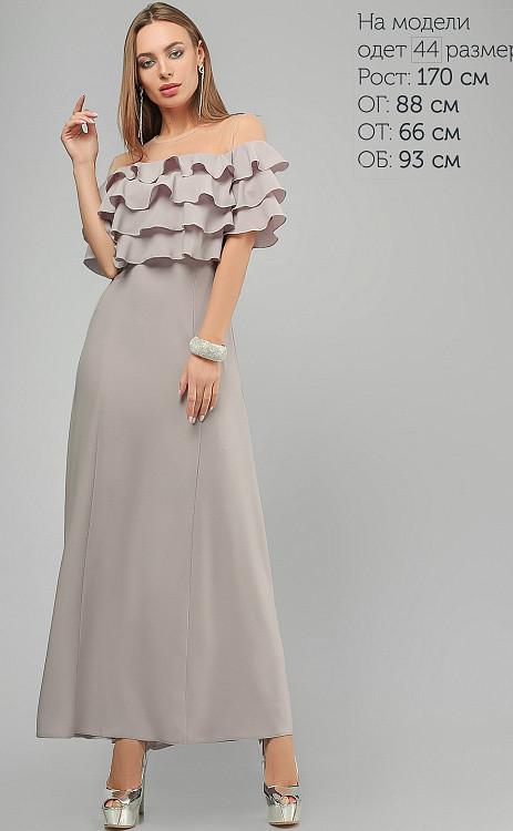 Нарядное длинное вечернее платье в пол серое