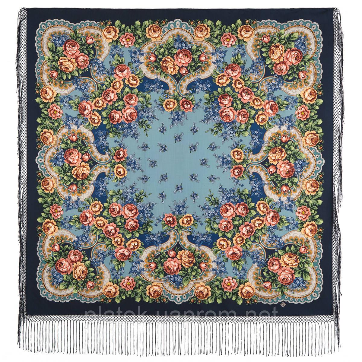 Сиреневый туман 983-14, павлопосадский платок (шаль) из уплотненной шерсти с шелковой вязанной бахромой