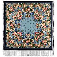 Сиреневый туман 983-14, павлопосадский платок (шаль) из уплотненной шерсти с шелковой вязанной бахромой, фото 1