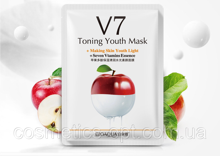 Витаминная тканевая маска BIOAQUA V7 Toning Youth Mask с яблоком