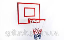 Щит баскетбольный с кольцом и сеткой UR (щит ДСП 60x50см, кольцо 30см)