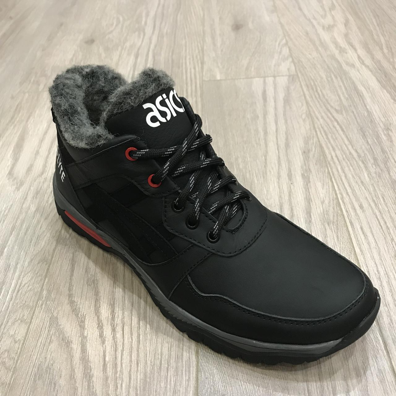 Мужские кожаные зимние кроссовки Asics / реплика