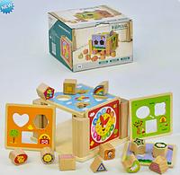 Деревянный куб-сортёр, игрушка из дерева