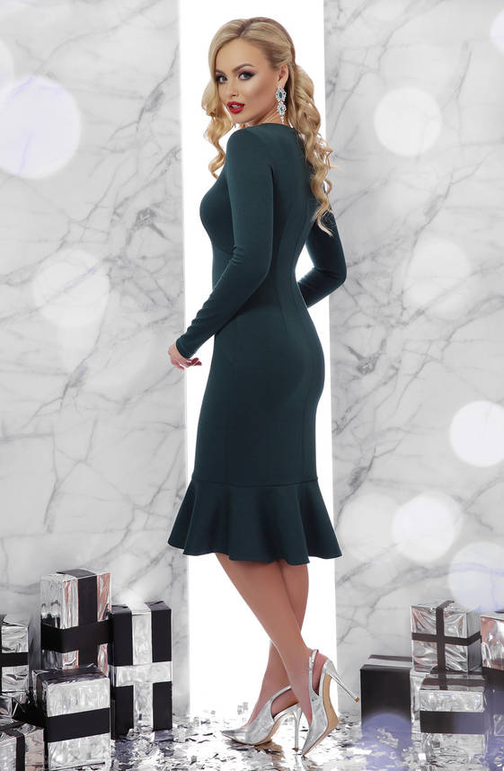 Нарядное платье с воланом внизу изумрудное, фото 2